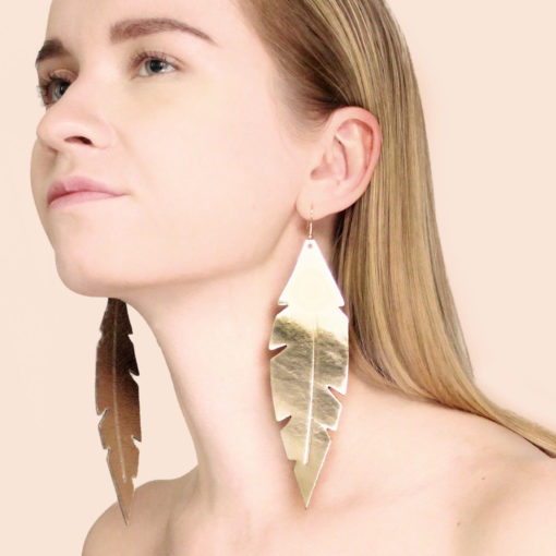 Limited Edition Feathers Grande Gold Leather Earrings