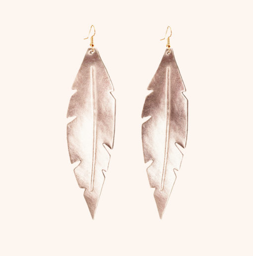 Limited Edition Feathers Grande Rose Gold Leather Earrings