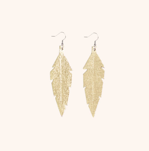 Feather Midi Gold Leather Earrings