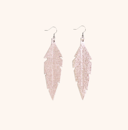 Feather Midi Rose Gold Leather Earrings