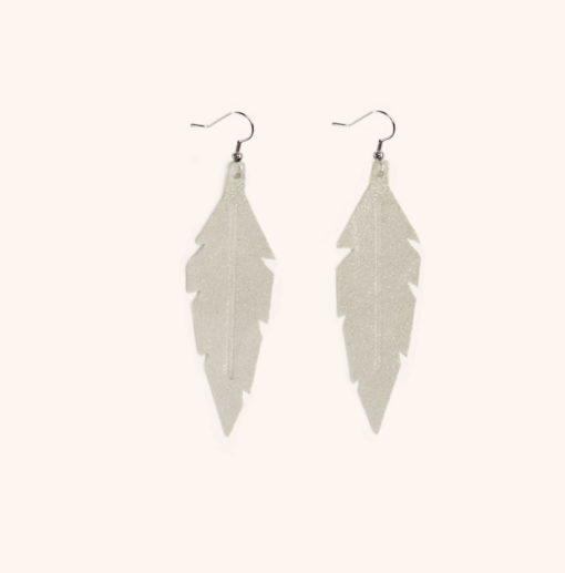 Feather Midi Champagne Powder Leather Earrings