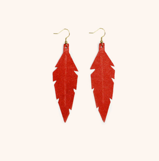Feather Midi Night Gold Red Powder Leather Earrings