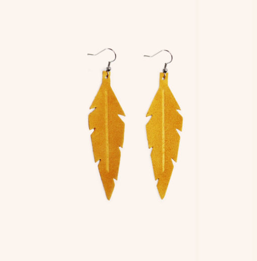 Feathers Midi Ocra Suede Leather Earrings