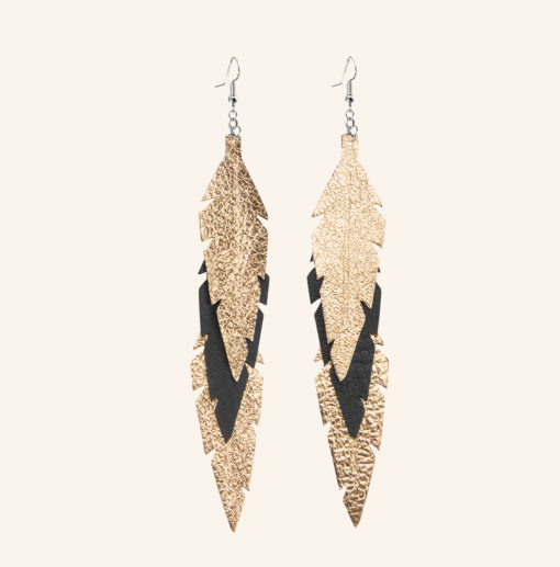 Feathers Midi Trio Gold Black Leather Earrings