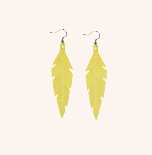 Feathers Midi Yellow Powder Leather Earrings
