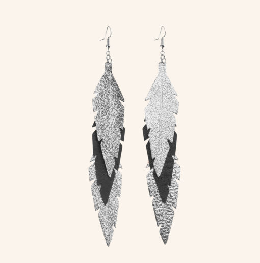 Feathers Midi Trio Silver Black Leather Earrings