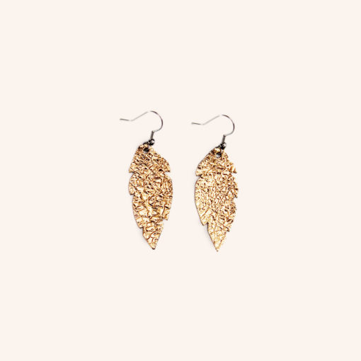 Feathers Petite Gold Leather Earrings