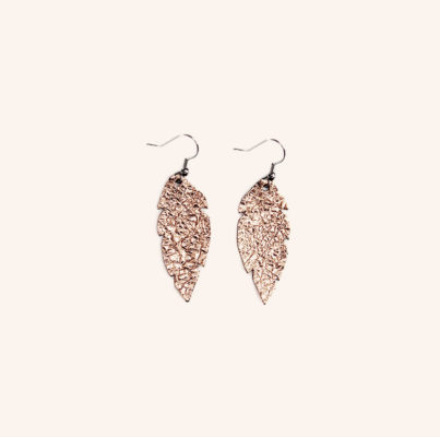 Feathers Petite Rose Gold Leather Earrings