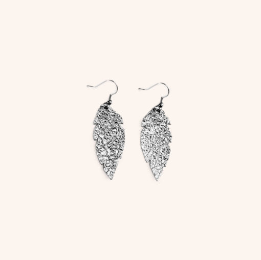 Feather Petite Silver Leather Earrings