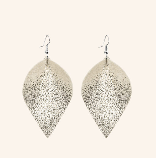 Lumme Grande Glitter Gold Leather Earrings