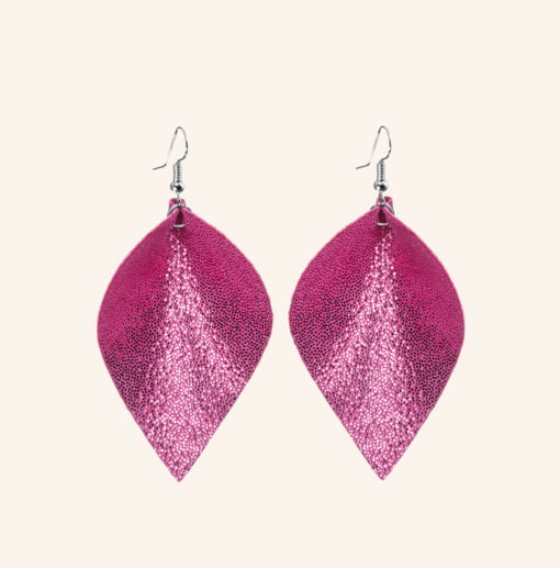 Lumme Grande Glitter Pink Leather Earrings