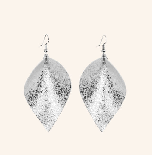 Lumme Grande Glitter Silver Leather Earrings