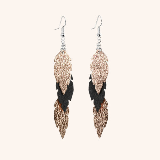 Feathers Petite Black Rose Gold Leather Earrings