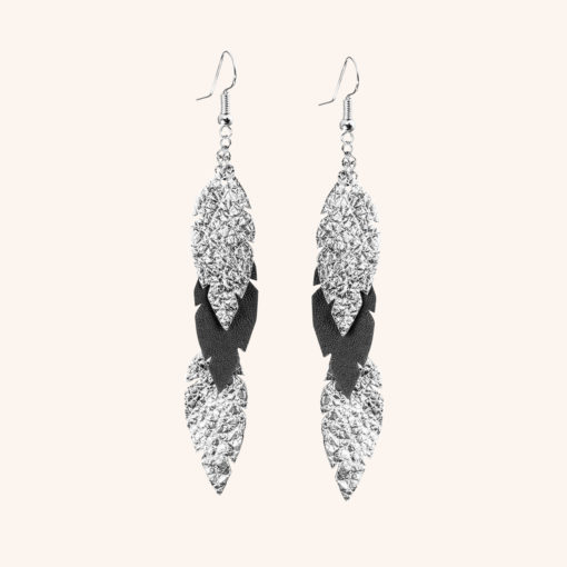 Feathers Petite Black Silver Leather Earrings