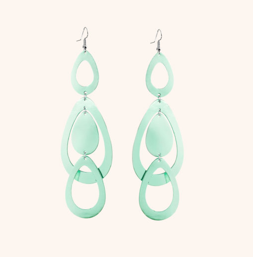 Sade Waterfall Grande Light Green Leather Earrings