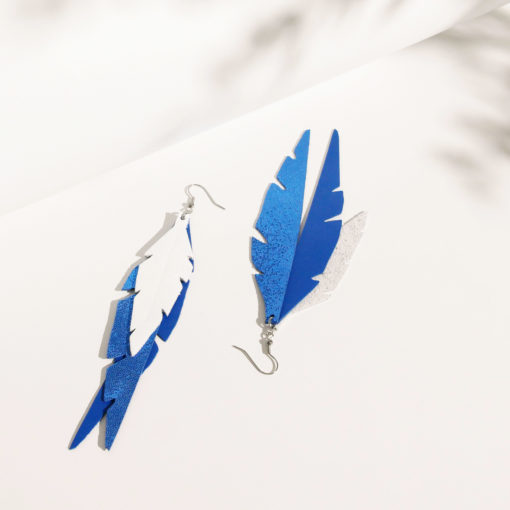 Feathers Fabulous Blue White Leather Earrings