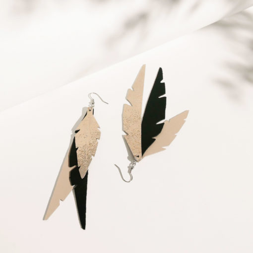 Feathers Fabulous Champagne Black Leather Earrings