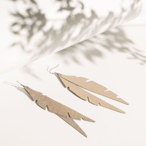 Feathers Glam Glitter Rose Gold Leather Earrings