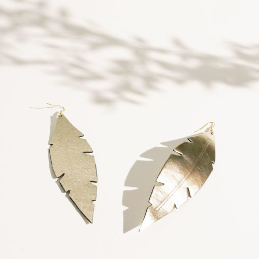 Feathers Grande Limited Edition Mirror Gold Leather Earrings