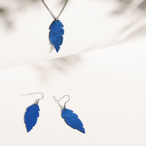 Feathers Petite Earrings and Necklace Set