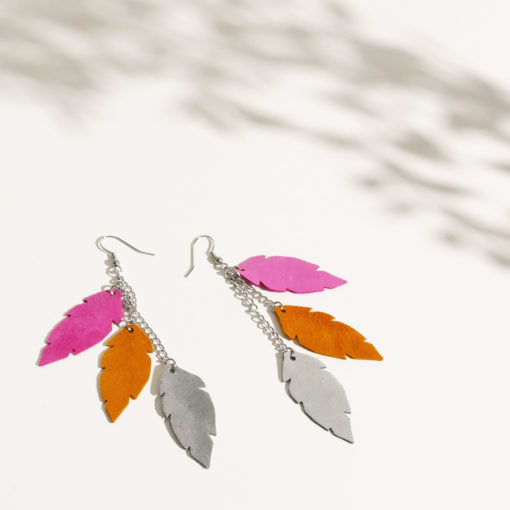 Feathers Petite Trio Leather Earrings
